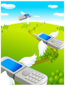 Flying cell phones — Stock Vector