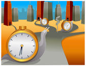 Snail with clock moving in different direction — Stock Vector