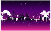 City Skyline at Night — Stock Vector