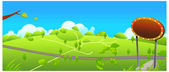 Road and small path over green landscape — Stock Vector