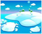Water and snow landscape — Stock Vector