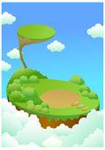 Paisaje verde sobre acantilado y azul cielo — Vector de stock