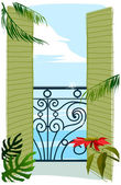 View through balcony door to sea — Stock Vector