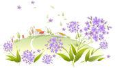 Huis op een groen landschap met bloemen — Stockvector