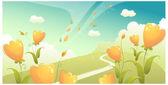 Paisaje verde con flores y el cielo — Vector de stock