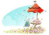 Cafe signboard under an umbrella — Stock Vector