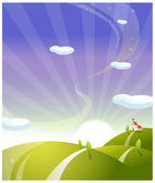 Church on rolling landscape with sunrise — Stock Vector