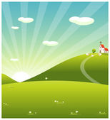 Rolling landscape and church — Stock Vector