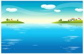 水の風景と住宅 — ストックベクタ