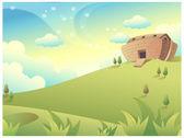 House on Green Mountain — Stock Vector