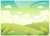 Rolling Landscape and Sky — Stock Vector