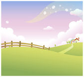 Rolling landscape and house — Stock Vector