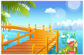 Swan and jetty over lake — Stock Vector
