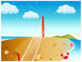 Net On Beach and seashell — Stock Vector