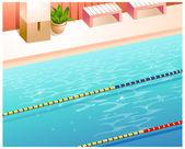 Indoor swimming pool — Stock Vector
