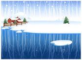 Winter landelijke scène — Stockvector