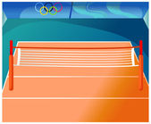 Empty indoor tennis court — Stock Vector
