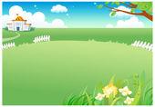 Paesaggio verde rurale — Vettoriale Stock