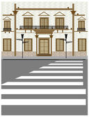 Building exterior and crosswalk on road — Stock Vector