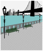 Riverside landscape — Vector de stock