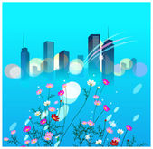 Flower plant and skyline on blue background — Stock Vector