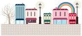 Calle tienda y cafetería exterior — Vector de stock