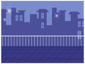 Skyline vu du balcon — Vecteur