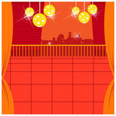 在阳台与天际线的背景灯 — 图库矢量图片