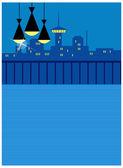 Lampe suspendue en balcon avec ligne d'horizon à l'arrière-plan — Vecteur