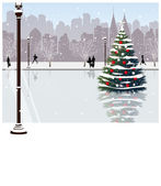 Christmas tree on street — Stock Vector