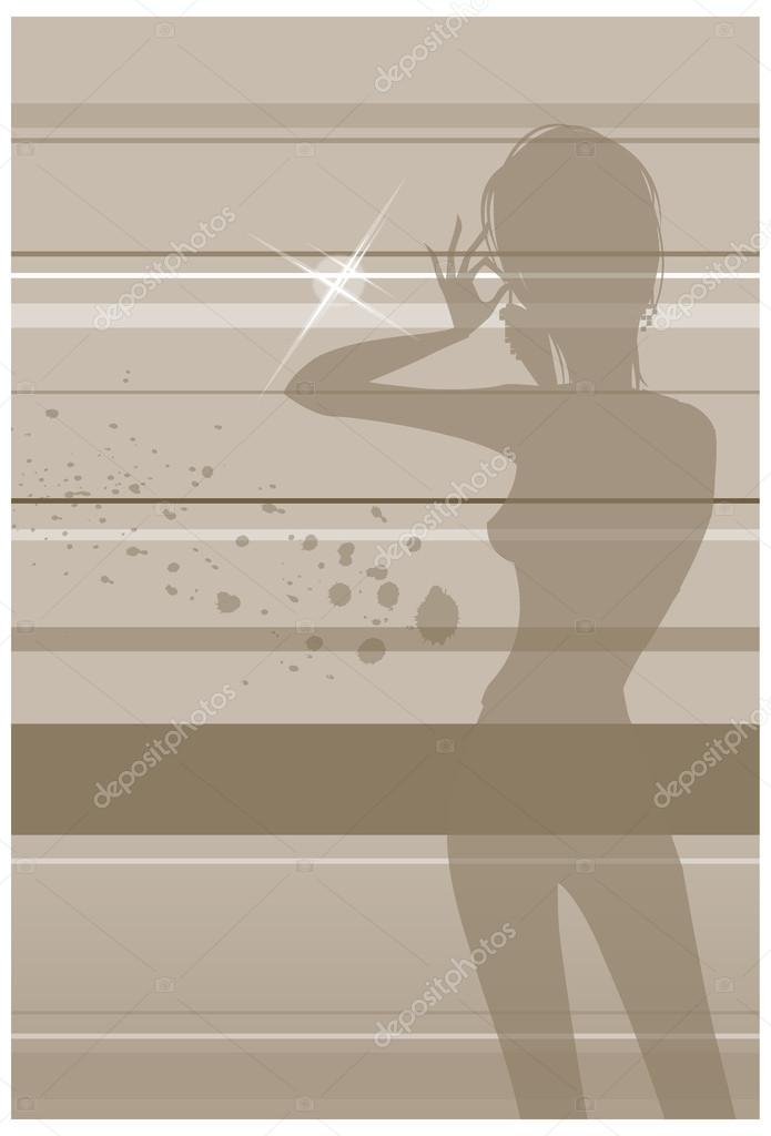 Woman putting on earrings  — Stock Vector #13418800