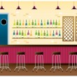 Stock Vector: Bar interior