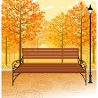 Bench and Lamp post on sidewalk — Stock Vector