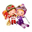 Boy and Girl skiing — Stock vektor