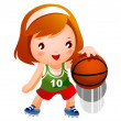 Girl bouncing basketball — Imagen vectorial