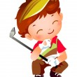 Boy with Golf - Stock Vector