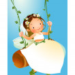 Stock Vector: Girl swinging