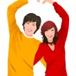 Stock Vector: Close-up of couple making heart symbol with their hands