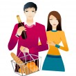 Young couple with champagne bottle and bun — Stock Vector #13424443