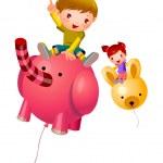 Boy and Girl sitting on balloon — Stock Vector #13424467