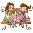 Stock Vector: Boy And Girl reading book on bench