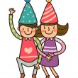 Boy And Girl wearing birthday cap - Stock Vector