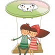 Royalty-Free Stock Vector Image: Boy and Girl sitting on ride