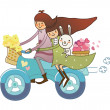 Boy and Girl on motorcycle — Stock Vector