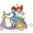Stock Vector: Boy and Girl on motorcycle