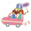 Boy and Girl travelling in car — Stock Vector #13424562