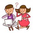 Back view of Boy and Girl working on laptop — Stock Vector
