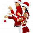 Royalty-Free Stock Vector Image: Portrait of couple wearing santa hat and holding teddy bear and christmas ornaments