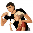 Young couple drinking coffee — Stock Vector #13424859