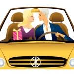 Young couple driving convertible car — Stock Vector #13424881